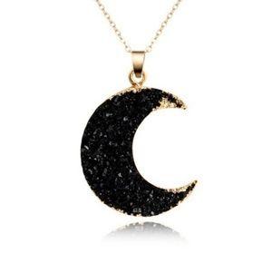 Geode Crescent Moon Necklace